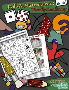 """Check out, """"Roll-A-Masterpiece: Wassily Kandinsky Art History Game!"""" It's a fun game you can play with your lower elementary students to create a watercolor painting using geometric and abstract shapes. #artsed #education #art #wassilykandinsky #watercolorpainting #teacherspayteachers"""