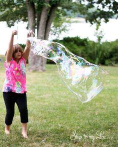 Homemade Giant Bubbles tutorial skiptomylou.org