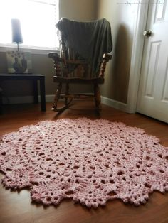 Crochet Doily Rug, Light Pink rug- soft pink- Lace- area rug - Round Rug, Cottage Chic- French Country- shabby chic- floor mat via Etsy