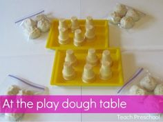 An invitation to play at the play dough table from Teach Preschool...ice cream cones/summer theme