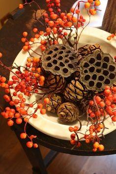Fall Decor ~ Pine Cones, Lotus Pods, Bittersweet colors, autumn decor, fall autumn, fall decorations, autumn bittersweet, autumn color, bowls, berries, fallautumn