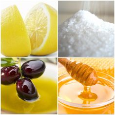 Lemon, sugar, olive oil & honey scrub.        Ingredients: 1/2 fresh lemon   - 1/2 cup of granulated sugar -  1 tbls of olive oil  - 1 tbls of organic honey   *Combine all ingredients in a medium sized container with lid.