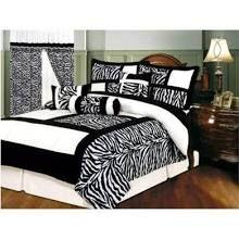 7 Pcs Zebra Micro Fur Bedding Comforter Set Bed In A Bag King Siz ...