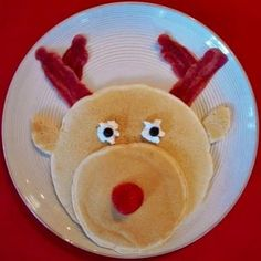 Rudolph Pancakes with bacon antlers! Totally doing this... Xmas morning for my little one!!