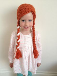 Frozen Princess Anna hand crocheted hat/wig.  Perfect for Frozen dressing up!  Available in all sizes. £12 each.  Please contact mel@melliemakes.co.uk for more info.    Princess Elsa hats/wigs coming soon!