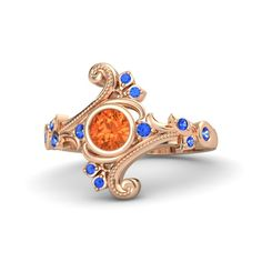 Round Fire Opal 18K Rose Gold Ring with Sapphire - Flamenco Ring