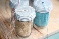 Use a mason jar as a yarn bowl! yarn bowl, ball, masons, craft organization, yarns, mason jars, diy, organization ideas, organ mason