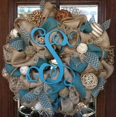 BURLAP and TURQUOISE INITIAL Wreath by decoglitz on Etsy