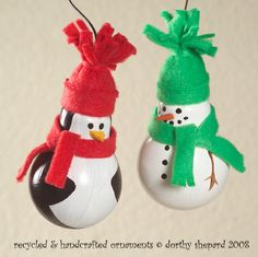 """Merry and Bright - Recycled Light Bulb Ornaments""  Courtesy of BetterBudgeting.com  Homemade Christmas Ornaments, Penguin and snowman"