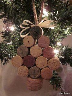 DIY Cork christmas tree ornaments