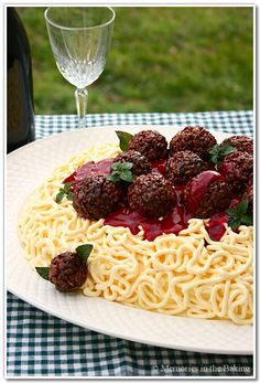 """A Spaghetti Cake, also cute as cupcakes with just one """"meatball"""" on top"""