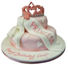 2 Tier Princess Tiara Birthday Cake | 2 Tier Princess Birthday Cakes | 2 Tier Princess 1st Birthday Cake