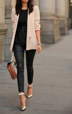 Black leather and ballet pink