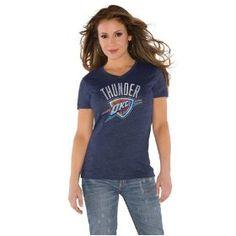 @OKCThunder #okcthunder  Navy Women's Primary Logo Tri Blend V Neck T-Shirt- by Alyssa Milano