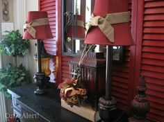 Repurpose old shutters into entryway decor by painting them in an accent color!