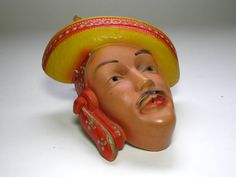Vintage Chalk Ware String Holder Mexican man With by borahstyle, $125.00