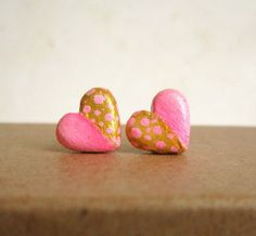 Pink earrings, Heart stud earrings, Pink and gold polka dot post earrings, polymer clay. Bridesmaid via Etsy