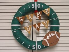 Game Day Football Yarn Wreath by KimLKrafts on Etsy, $50.00