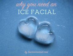 Ice cube facial massage