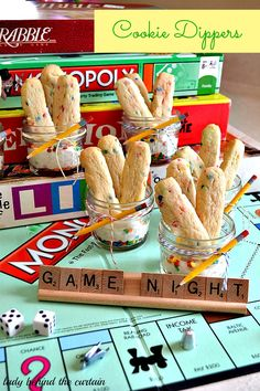 Cookie Dippers- What a fun idea for a game night, baby or bridal shower or a party.