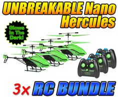 Glow in The Dark Nano Hercules Unbreakable 3.5CH RC Helicopter 3-Pack Bundle