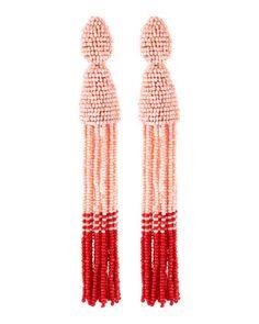 Long Beaded Tassel Clip-On Earrings, Blush/Red by Oscar de la Renta at Bergdorf Goodman.