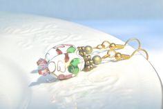 White Cloisonne Dangle Earrings Boho Style by MonasCreationsFL