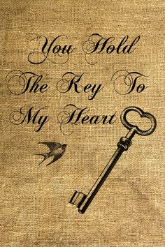 Print onto ends of table runners for wedding.  You Hold The Key To My Heart Download and Print Image by room29, $3.00