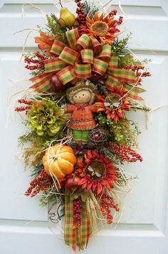 . scarecrow fall, craft, timelessscarecrow swagwreath, fall swag, door decor, fall decorating, fall wreaths, swagwreath alternativefal, autumn decorations