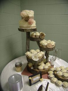 Burlap wedding cake on wood stand !