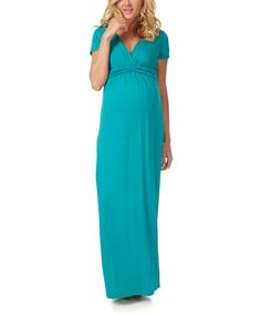 Teal Pleated Tie-Waist Maternity Maxi Dress #zulily #zulilyfinds