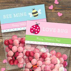 Valentine's Day Gift Bag Topper - DIY Printable - Kids - Love Bug. $6.50, via Etsy.