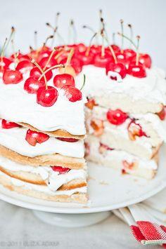 Cherry Cream Layered Cake