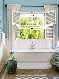 decor, dream bathrooms, clawfoot tubs, bathtubs, shutter, hous, bathroom ideas, bathroom windows, cottage bathrooms
