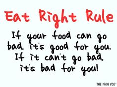 The Eat Right Rule eat start, foods, clean eating, motivation for eating right, eat right, fresh food, health, iron