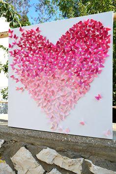 Heart wall art, ombre, decor room, heart, nursery decor, pink, paint samples, wedding gifts, paper butterflies