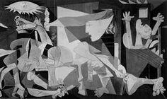 This piece is by Pablo Picasso, renown for his cubist and abstract representations of life. 'Guernica' depicts the bombing of Guernica by German and Italian warplanes in support of the Spanish nationalist forces. It represents the needless but all-consuming devastation of the horrific air attacks on Spanish civilians.