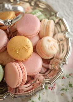 Macarons on Silver Tray