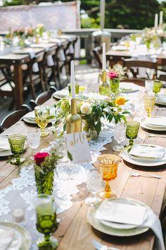 tablescape with jewel tones, photo by Orange Owl Photography http://ruffledblog.com/a-whimsical-bohemian-wedding-in-la-jolla #weddingreception #receptions