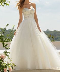 Wedding Dress, Lace / Organza Wedding Dress,A-Line Wedding Dress
