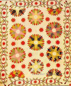 Pieced & applique quilt, Mariner's Compass, 1850