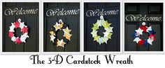 Make a wreath out of cardstock? They turn out darling and are so inexpensive, you can make one for every month of the year! decor, 3d cardstock, cardstock wreath, season, crafti thing, craft idea, diy, wreath roundup, wreaths