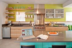 turquoise, green-yellow, light wood open shelves, contemporary kitchens, kitchen colors, colorful kitchens, kitchen design, hous, open kitchens, modern kitchens, open shelving