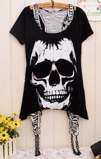 skulls, skull print, chain, print top, white skull