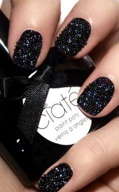 black nail art.