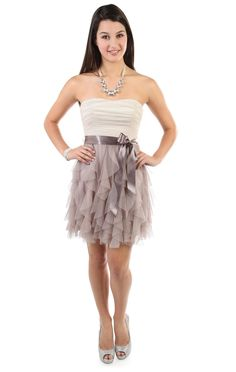two tone glitter short party dress with tendril skirt and satin tie