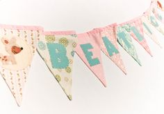 Name Banner - Pastel Pink Blue Nursery Bunting with Animal Theme, Personalized Woodland Birthday Party Garland