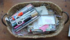 a handy journaling basket
