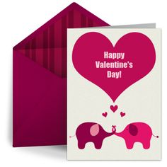 """Elephants in Love"" digital valentine by Punchbowl. We love this design for the grandkids from grandma!"