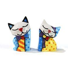 Romero Britto Ceramic Cat Salt